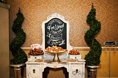 Savvy Sisters Inc. Styling with Vintage Furniture and Decor Vanity with chalkboard calligraphy serves up sweets