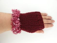 Wrist Warmers   in Maroon Fuzzy  Trim  Fashion  by toppytoppy, $19.99