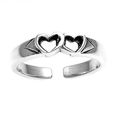 Silver Open Hearts Mid Finger / Knuckle Ring