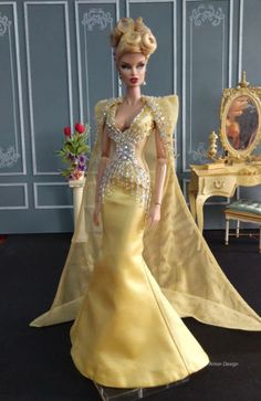 White Ball Gown with Gold Sequined Lace Details Made to Fit Barbie Doll