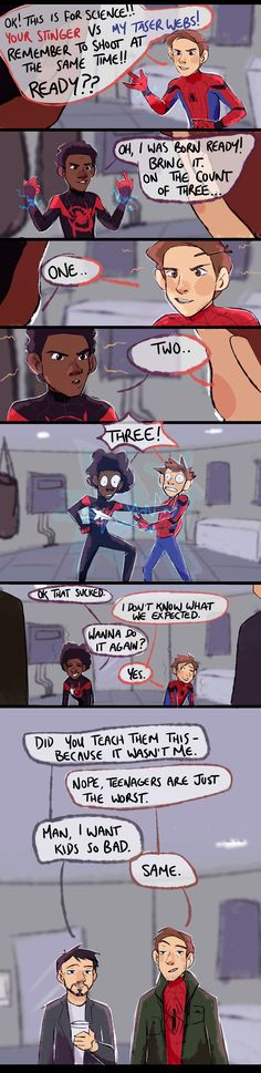 So, this is giving me ideas for the Spider-verse sequel. Funny Marvel Memes, Marvel Jokes, Dc Memes, Avengers Memes, Funny Comics, Marvel Fan Art, Marvel Dc Comics, Marvel Avengers, Gwen Stacy