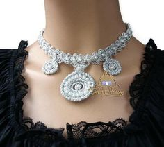 Crochet pearl silver choker with pendants Short bead necklace  Victorian women necklace Wedding boho