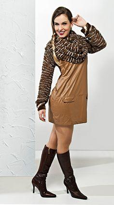 |#Mangote marrom - Cisne Cloud #tricô #Moda #Inverno #receita #CoatsCorrente