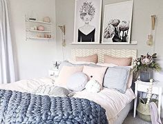 The stunning bedroom of our customer @cleverpoppy  with our blush button cushion on the bed