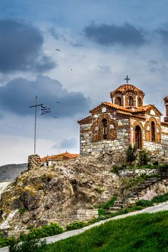 Church in Sigri, Lesvos island, North Aegean Sea, Greece Byzantine Architecture, Church Architecture, Mykonos, Santorini, Beautiful Islands, Beautiful Places, Greek Isles, Cathedral Church, Chapelle