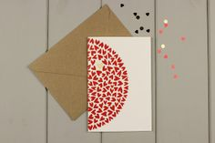 Love hearts Screenprinted greetings card by WorkOnPaperStudio, £2.95