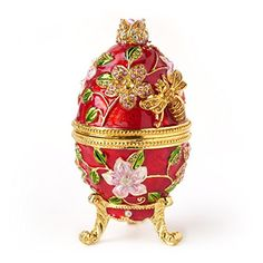 Hand- Painted Vintage Style Bee and Flowers Faberge Egg with Rich Enamel and Sparkling Rhinestones Jewelry Trinket Box (FREE PRIORITY SHIPPING UNTIL 12/20) (Red) Apropos http://www.amazon.com/dp/B0190FV9UK/ref=cm_sw_r_pi_dp_w5iDwb0Q21N4X