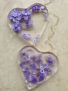 Hearts - Quilling - Fridge Magnet. [I wonder if a quilled mobile or dangler could be created ;) Mo]