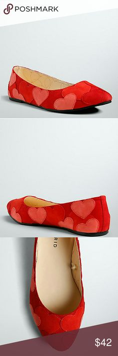 Torrid heart shoes 8W valentines Offered is a sweet and sexy pair of faux suede heart patch shoes in red and pink. New with tags and in immaculate condition. Made by Torrid. Size 8W. Pair with your favorite black tights and little red dress to get a jump on valentines day! Torrid  Shoes Flats & Loafers