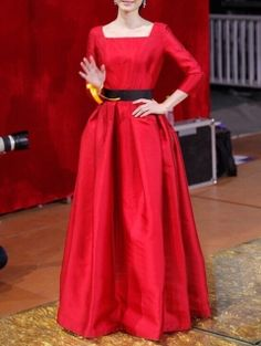 Red Party Long Sleeves Maxi Dress-Chioes Limited