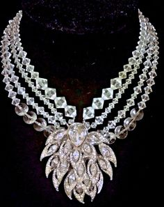 STUNNING ANTIQUE RHINESTONE JAY FEINBERG STRONGWATER SIGNED COUTURE NECKLACE