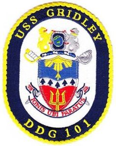 DDG-101 USS GRIDLEY GUIDED MISSILE DESTROYER SHIP CREST PATCH