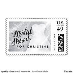 Sparkly Silver Bridal Shower Wedding Dress Custom Postage Stamps ♥ Repinned by Annie @ www.perfectpostage.com