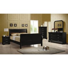 30 Inspiration Picture of Black Bedroom Furniture . Black Bedroom Furniture Coaster Louis Philippe Sleigh Bedroom Set In Black 203961 Black Master Bedroom, Black Bedroom Sets, Kids Bedroom Sets, King Bedroom, Bedroom Ideas, Black Bedrooms, Canopy Bedroom, Bedroom Images, Bedroom Designs