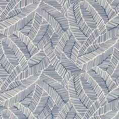 Schumacher ABSTRACT LEAF NAVY Fabric