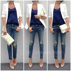 1. Blue top + cream blazer + B&W boyfriend jeans + cream purse + blue shoes OR nude Zara shoes OR leopard shoes