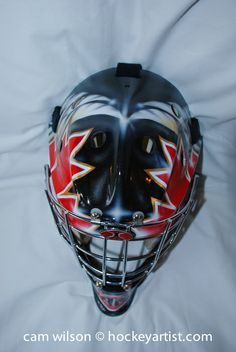 Canadian Theme Goalie Mask - Airbrushing by Cam Wilson www.hockeyartist.com