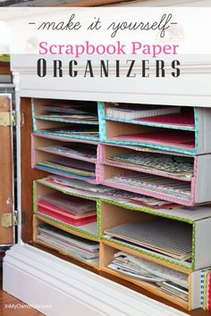 Storage Projects with Up-Cycled Cardboard Boxes Easy Up-cycled cardboard box storage projects - scrapbook paper storageEasy Up-cycled cardboard box storage projects - scrapbook paper storage