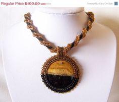 CHRISTMAS SALE Beadwork Bead Embroidery Pendant Necklace by lutita, $90.00