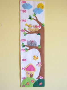 Magasságmérő- napocskával, madárkákkal, cicával, házikóval, Baba-mama-gyerek, Gyerekszoba, Baba falikép, Meska Growth Ruler, Felt Kids, Height Chart, Cartoon Pics, Felt Dolls, Bedroom Themes, Cute Dolls, Happy Mothers, Preschool Activities