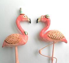 Pink Flamingos in Love Wedding cake topper by indigotwinweddings, $85.00
