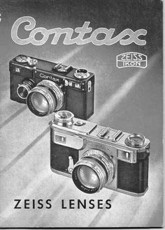 Early examples of the Zeiss Ikon Contax made in Dresden. These are the black Contax I and the later chrome Contax II.