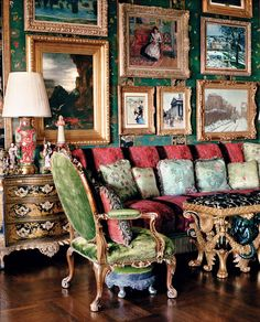 Paintings by Gustave Moreau, Pierre-Auguste Renoir, and Camille Pissarro in the living room. Getty house