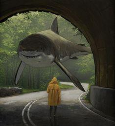 Entrevista: Pinturas de tiburones fuera del agua muestran una faceta más suave de estas criaturas