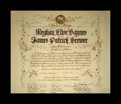 Close up of the marriage certificate of Meghan & James to show the Gold application.
