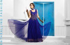 Ishimaya - Designer salwar kameez, Anarkali & frock suits online shopping, Find latest shalwar kameez designs for women online with Global Shipping. Party Wear Dresses, Prom Dresses, Formal Dresses, Dresses 2014, Gown Suit, Evening Party Gowns, Blue Gown, Gowns Of Elegance, Designer Gowns