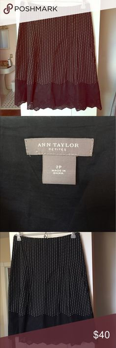Ann Taylor skirt Black with white dots and bottom embroidered! Linen! Sz 2 petite Ann Taylor Skirts A-Line or Full