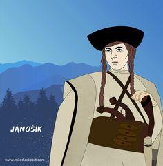 Juraj Jánošík - a famous Slovak highwayman - Milos Lacko Art Deer Illustration, Illustrations, Robin, Novels, Film, Artwork, Movie Posters, Character, Movie