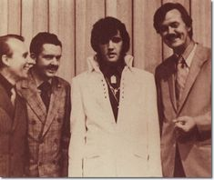 """The three men pictured with Elvis have often been referred to as """" the men who invented Southern Gospel Music """" The man on the far left is James Blackwood of the Blackwood Brothers' Quartet, Hovie Lister, founder of the Statesmen Quartet, a quartet that greatly influenced Elvis' style, and on the right of Elvis is JD Sumner. When this shot was taken in October 1970, JD was in the process of reorganizing the Stamps Quartet into the quartet that would work with Elvis until his death."""