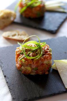 Tartare au 2 saumons et à la poire
