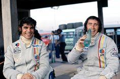 Francois Cevert (finished 2nd) & Jacky Stewart, (finished 1st),  Tyrrell-Ford,  Dutch GP, Zandvoort, 1973.