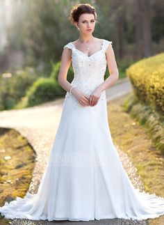 Wedding Dresses - $186.99 - A-Line/Princess V-neck Court Train Chiffon Wedding Dress With Lace Beadwork Sequins (002000159) http://jjshouse.com/A-Line-Princess-V-Neck-Court-Train-Chiffon-Wedding-Dress-With-Lace-Beadwork-Sequins-002000159-g159