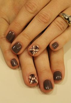 Love Love Love these! Brown gel polish with hand painted argyle. ManiMondays: November Nails