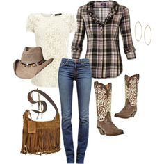 """""""Pretty Country"""" - I love the look of adding pretty feminine touches to the country look. Pair the floral shirt underneath the plaid shirt. Very cute!"""