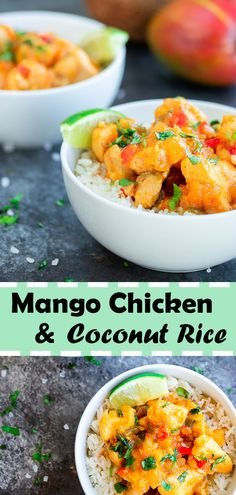 The savoury mango chicken sauce complements the coconut flavored rice making this dish a absolute mouthwatering blend. #food #recipe #caribbean #tropical #mango #chicken #dinner #foodphotography #healthy #yummy #delicious #paleo #coconut #howtomake