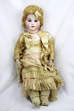"""Antique 24"""" French Circle Dot Bru Doll with Damaged Head"""