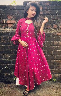 Best 12 Beautiful Cotton-Silk Kurti/Dress with beautiful detailing Salwar Neck Designs, Kurta Neck Design, Dress Neck Designs, Kurta Designs Women, Blouse Designs, Silk Kurti Designs, Sleeve Designs, Designer Kurtis, Indian Designer Outfits