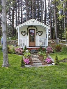 Cabins and Cottages: The cutest She Shed cottage includes quaint . Prefab Cottages, Cabins And Cottages, Prefab Tiny Houses, Garden Cottage, Cozy Cottage, Cottage Style, Home And Garden, Shed Decor, Backyard Sheds