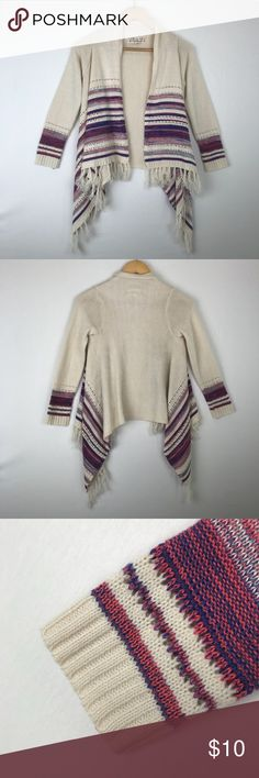 """Pink Republic Girls Waterfall cardigan boho 10-12 Pink Republic Girls Size 10-12 Waterfall boho Cardigan sweater. Ivory with pink and purple stripes. Great condition. Cute Fringe detail. Cozy for Winter. Underarm to Underarm: 16""""   Pink Republic Shirts & Tops Sweaters"""