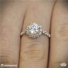 Verragio Round Halo Diamond Engagement Ring... Yesyesyes YES! #anillos y #alianzas de #boda