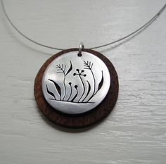 Weeds Neckwire  Necklace with Walnut Wood  Modern by janeeroberti, $58.00