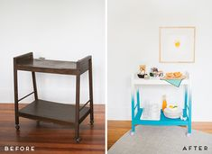 From Ugly to Ombre: transforming a rolling cart with some paint, could do this for ours from IKEA.