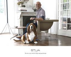 STUA: A love story between dogs and good design. Enrique and Nano, both design lovers, by the Nube armchair.