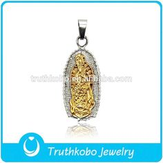 virgen de guadalupe pendant stainless steel gold blessd christian jewelry catholic religious items donggun factory