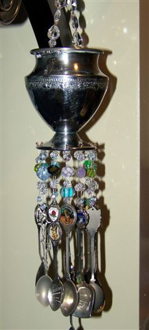 Souvenir spoons wind chime, Made from antique silver serving pieces and collector spoons from around the world. A unique way to display collector spoons,