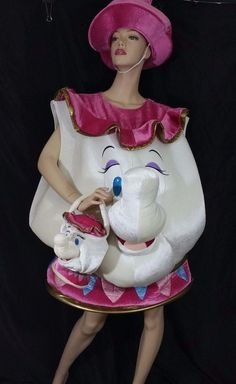 MRS. Potts Chip Teapot Costume Disney Store Adult XL Beauty and the Beast Purse #Disney #CompleteOutfit #Halloween
